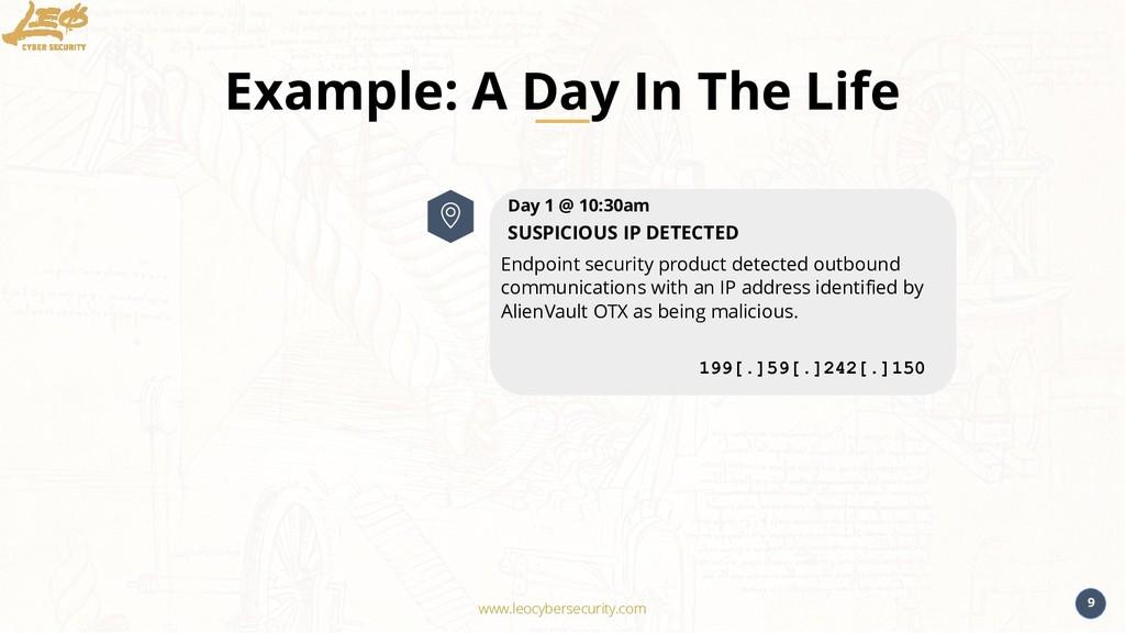www.leocybersecurity.com 9 Example: A Day In Th...