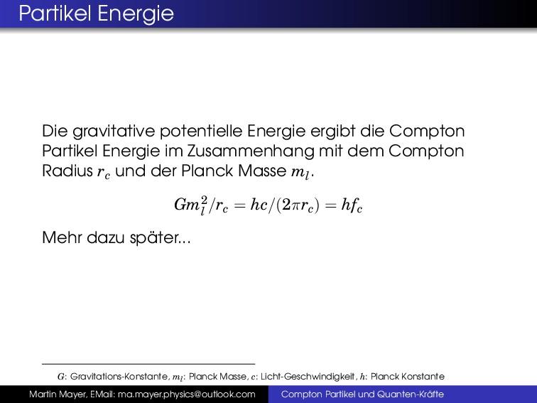 Partikel Energie Die gravitative potentielle En...