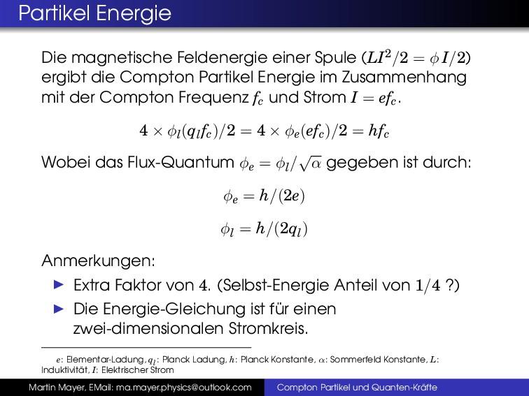 Partikel Energie Die magnetische Feldenergie ei...