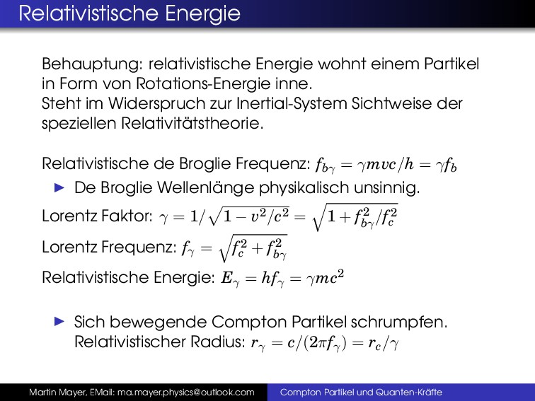 Relativistische Energie Behauptung: relativisti...