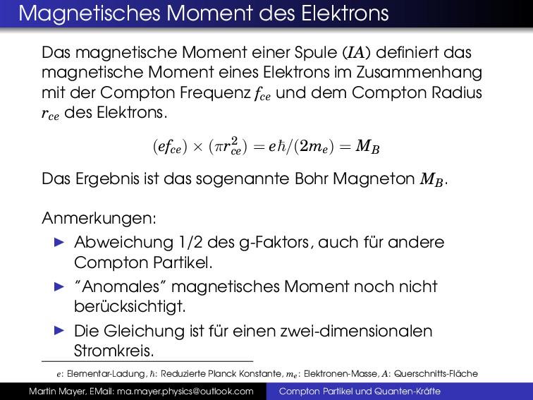 Magnetisches Moment des Elektrons Das magnetisc...
