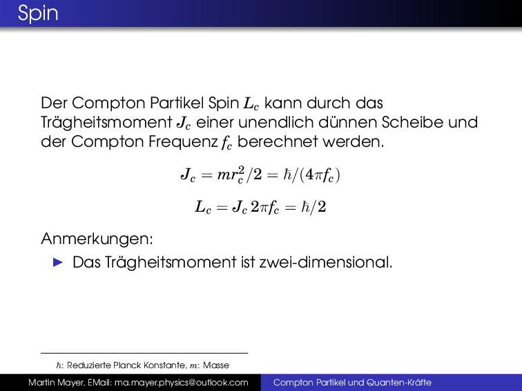 Spin Der Compton Partikel Spin Lc kann durch da...