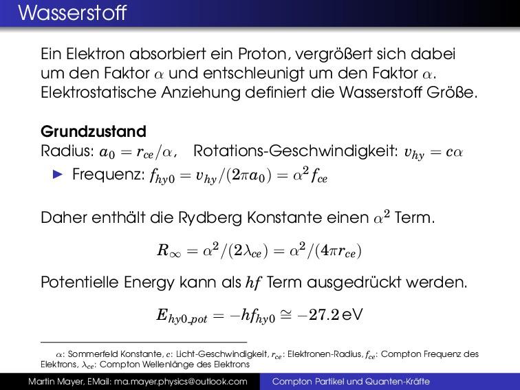 Wasserstoff Ein Elektron absorbiert ein Proton,...