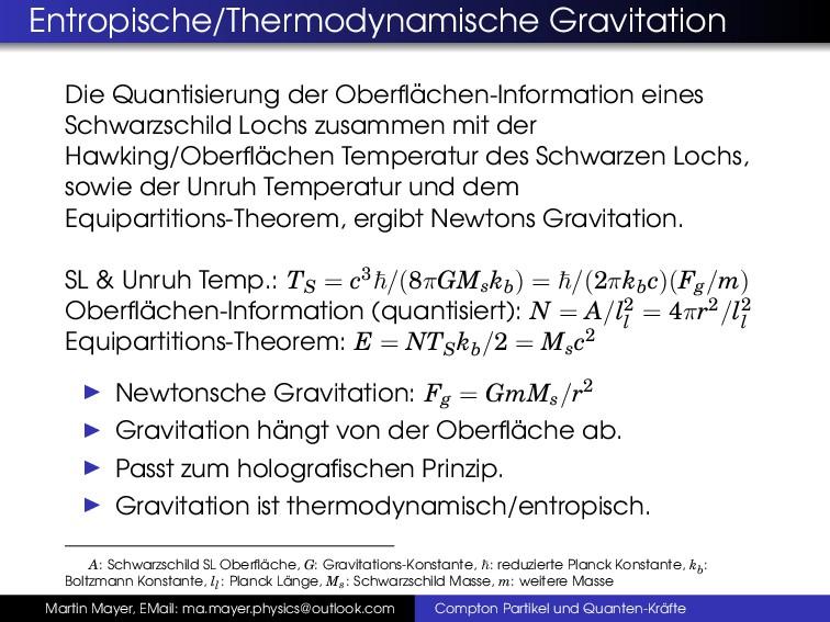 Entropische/Thermodynamische Gravitation Die Qu...