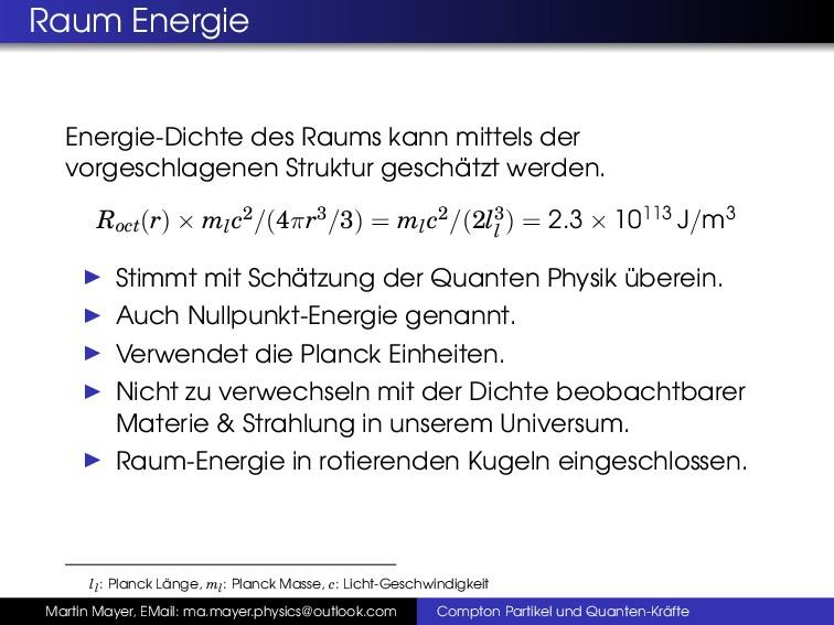 Raum Energie Energie-Dichte des Raums kann mitt...