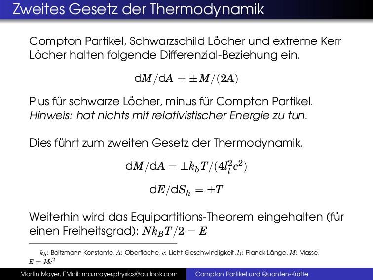 Zweites Gesetz der Thermodynamik Compton Partik...