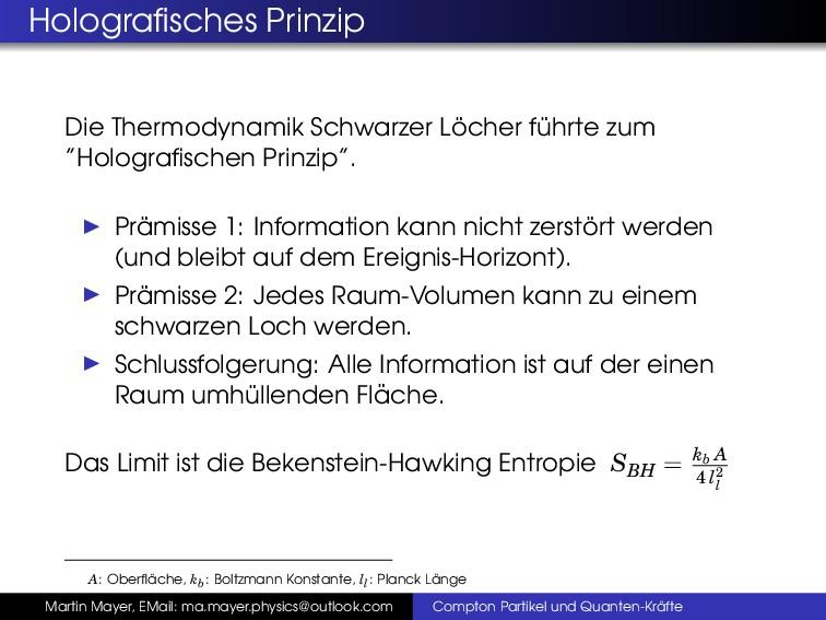 Holografisches Prinzip Die Thermodynamik Schwarz...
