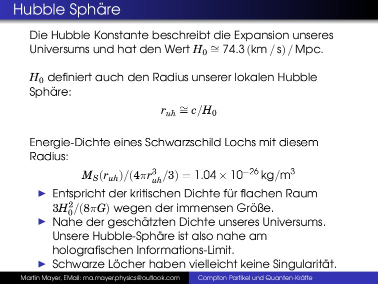Hubble Sph ¨ are Die Hubble Konstante beschreib...