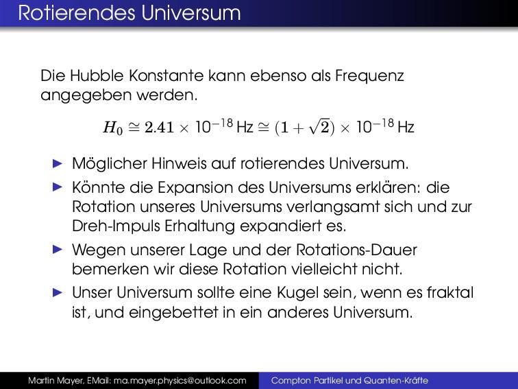 Rotierendes Universum Die Hubble Konstante kann...