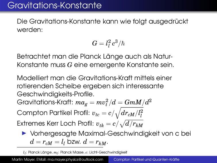 Gravitations-Konstante Die Gravitations-Konstan...