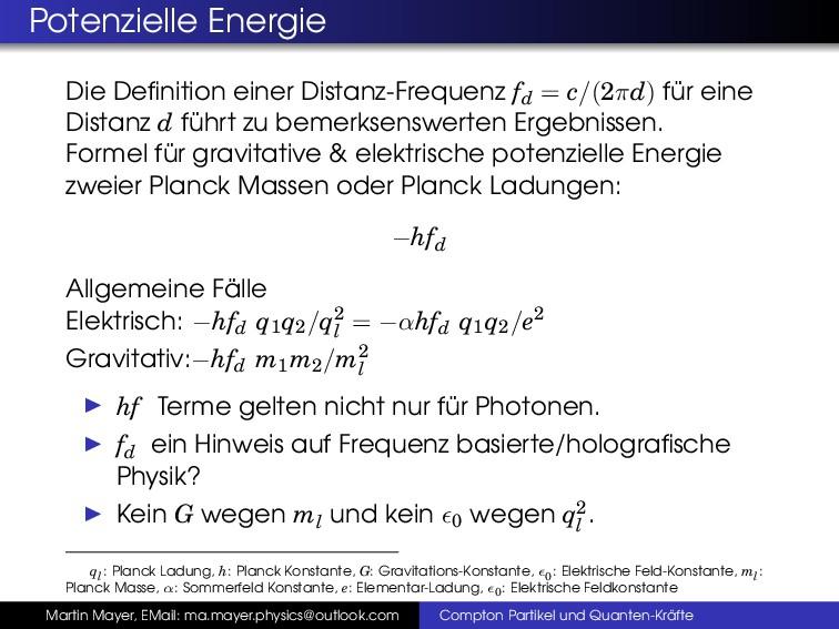 Potenzielle Energie Die Definition einer Distanz...
