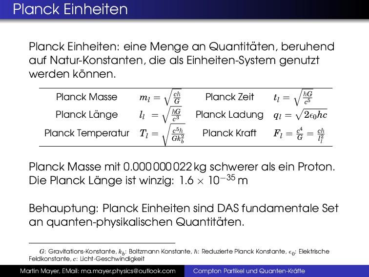 Planck Einheiten Planck Einheiten: eine Menge a...