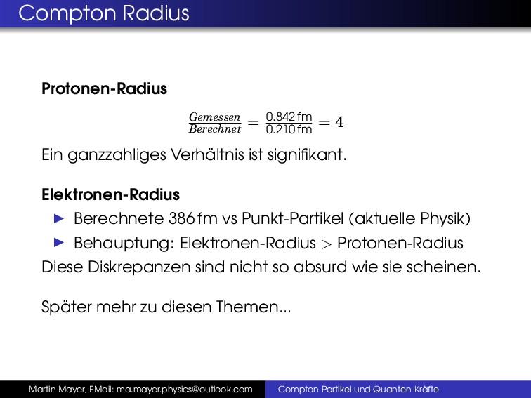 Compton Radius Protonen-Radius Gemessen Berechn...