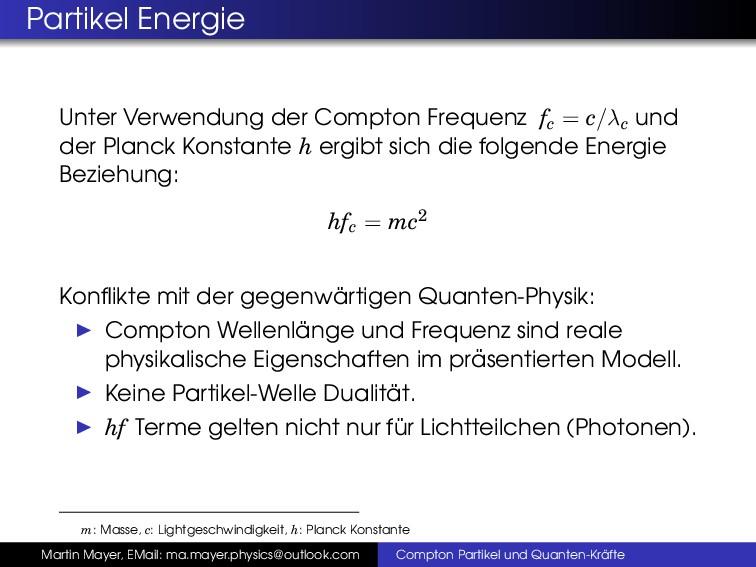 Partikel Energie Unter Verwendung der Compton F...
