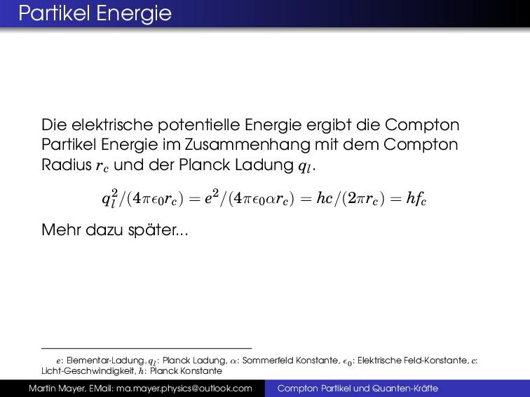 Partikel Energie Die elektrische potentielle En...