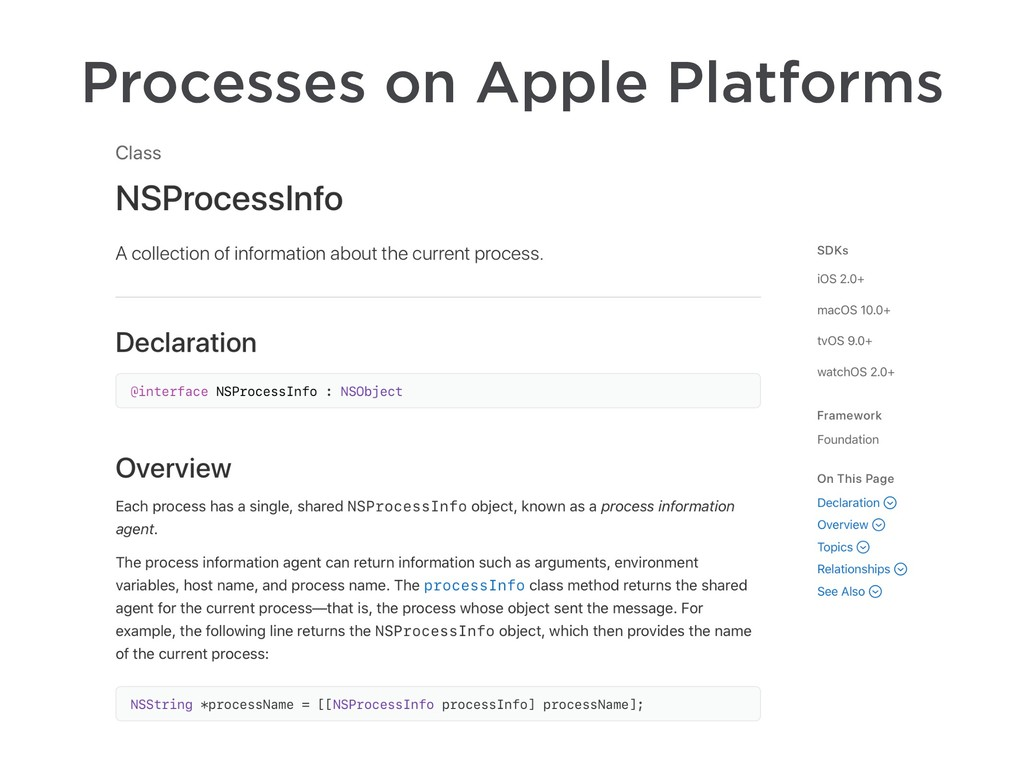 Processes on Apple Platforms