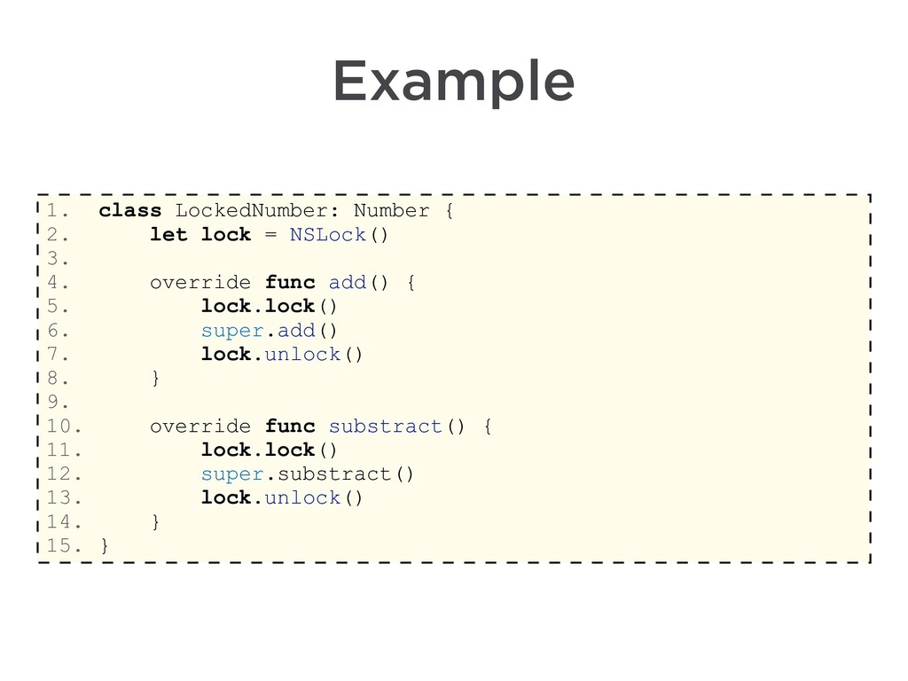 Example 1. class LockedNumber: Number { 2. let ...