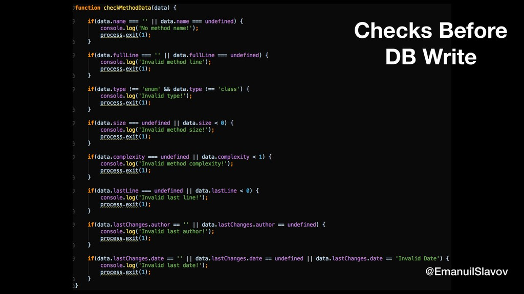 Checks Before DB Write @EmanuilSlavov