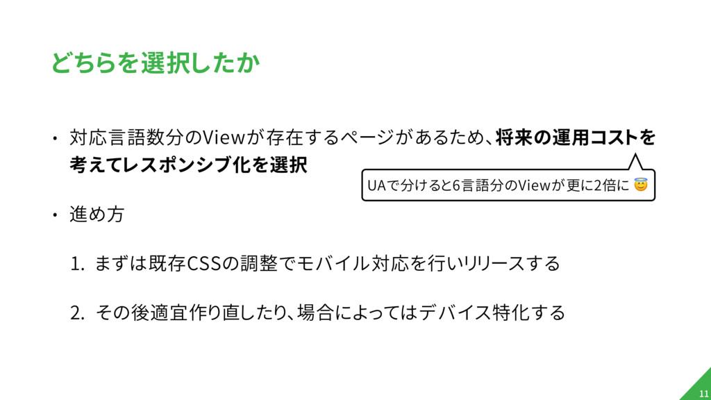どちらを選択したか • 対応言語数分のViewが存在するページがあるため、将来の運用コストを ...