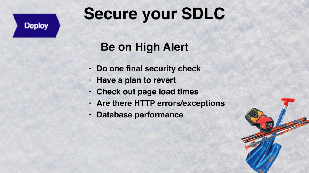 Secure your SDLC Be on High Alert • Do one final...