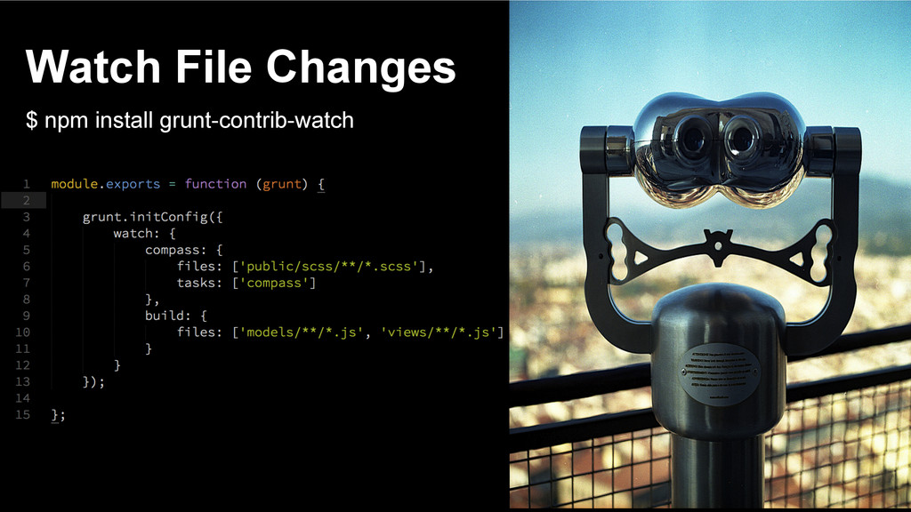 Watch File Changes $ npm install grunt-contrib-...