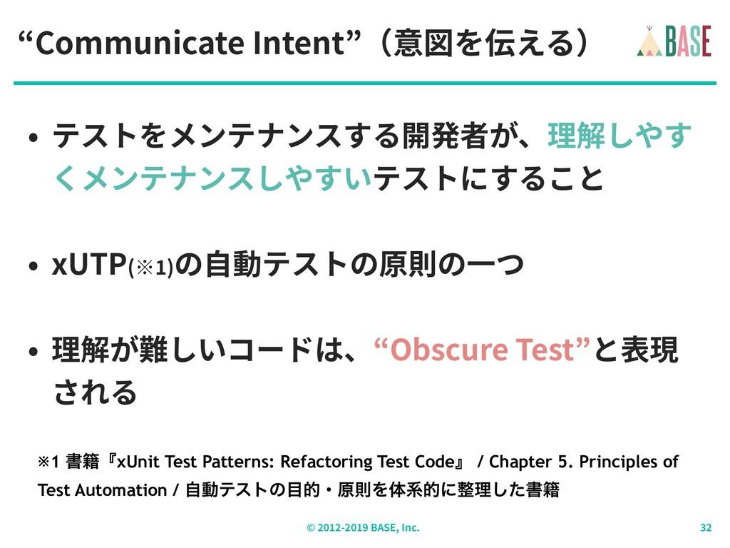 """© - BASE, Inc. """"Communicate Intent""""(意図を伝える) • テ..."""