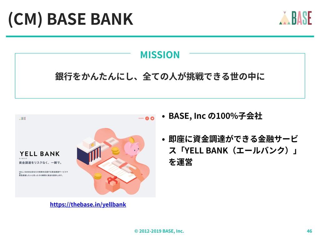 © - BASE, Inc. (CM) BASE BANK 銀⾏をかんたんにし、全ての⼈が挑戦...