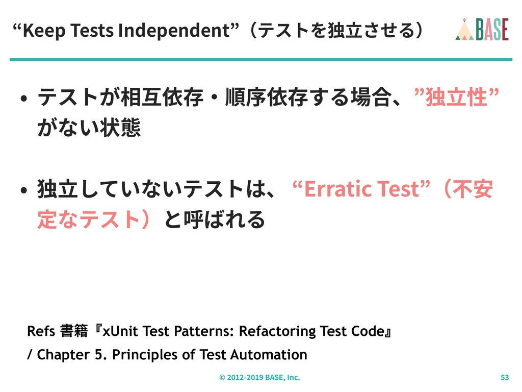 "© - BASE, Inc. ""Keep Tests Independent""(テストを独⽴さ..."