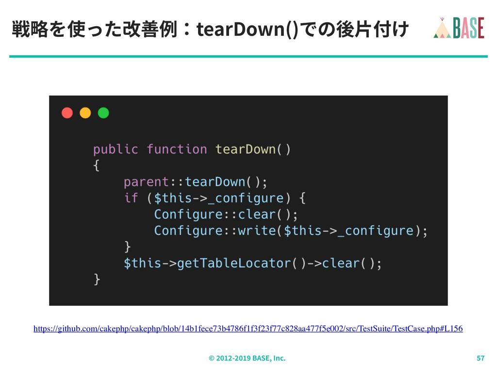 © - BASE, Inc. 戦略を使った改善例:tearDown()での後⽚付け https...