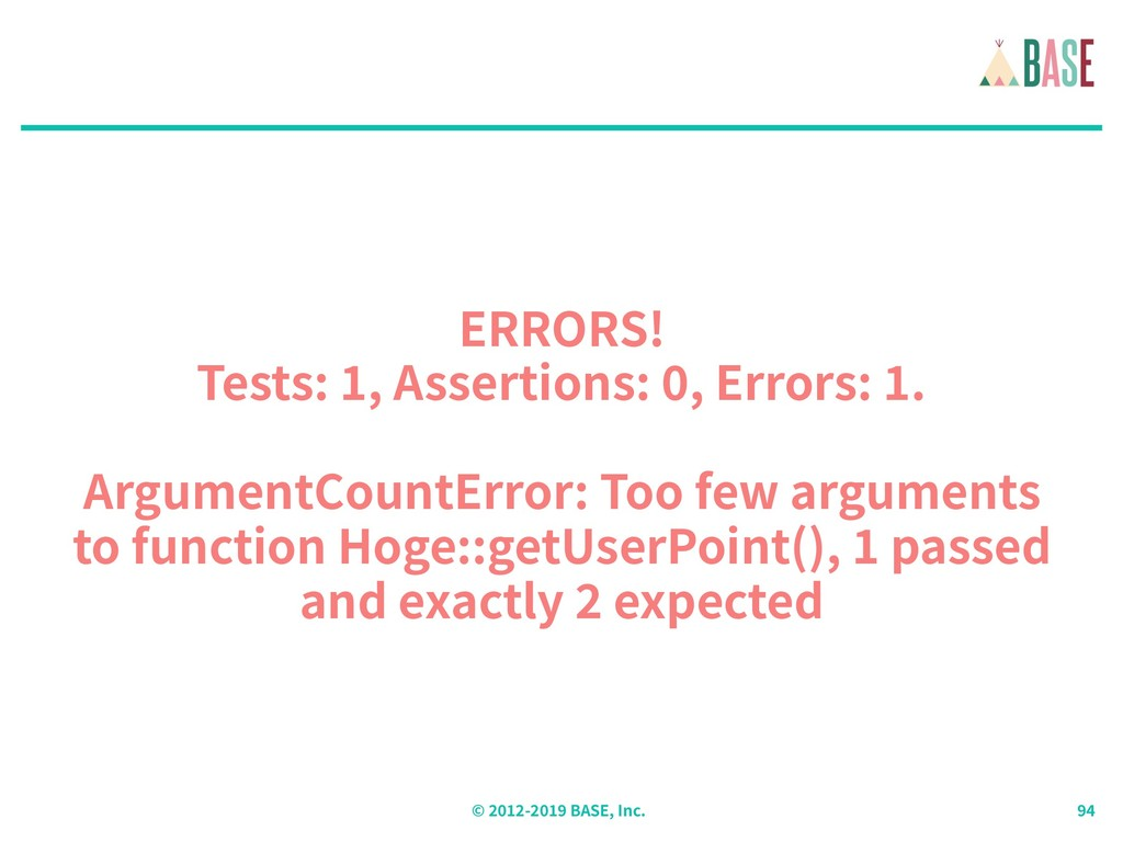 © - BASE, Inc. ERRORS! Tests: , Assertions: , E...
