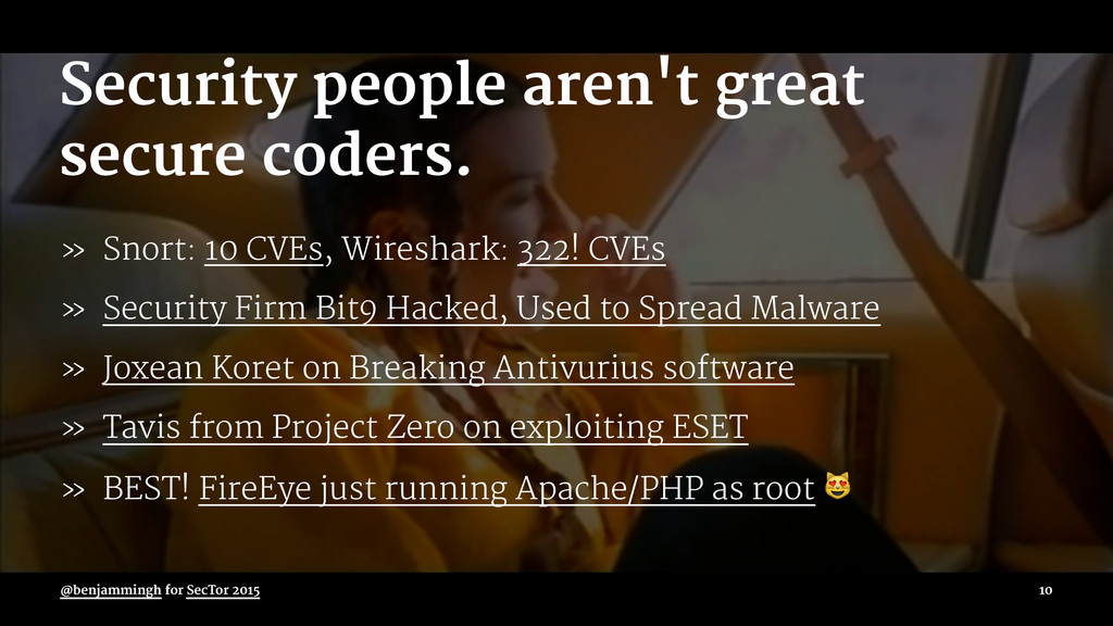 Security people aren't great secure coders. » S...