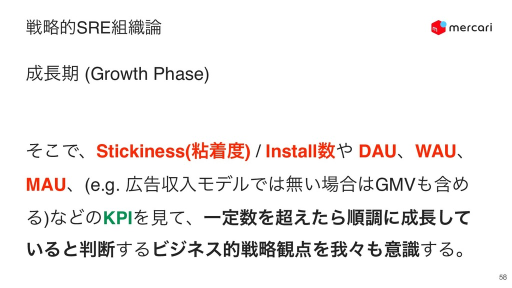 ઓུతSRE૊৫࿦ 58 ੒௕ظ (Growth Phase) ͦ͜ͰɺStickiness(...