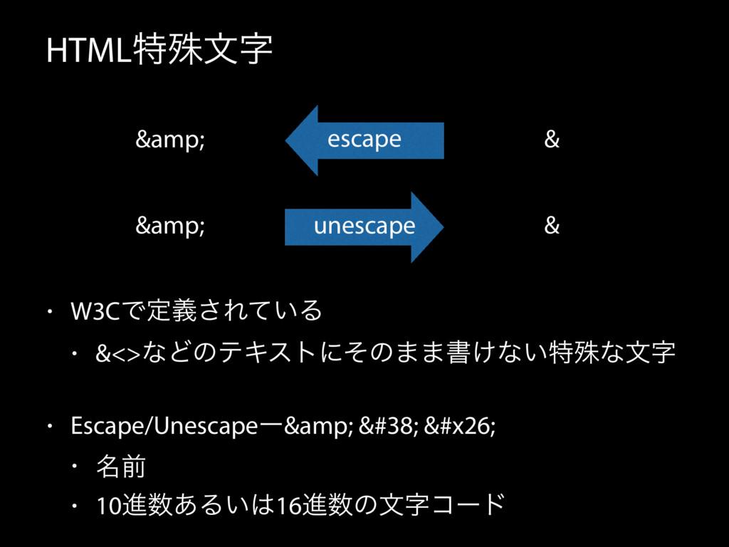 HTMLಛघจ • W3CͰఆٛ͞Ε͍ͯΔ • &<>ͳͲͷςΩετʹͦͷ··ॻ͚ͳ͍ಛघͳ...