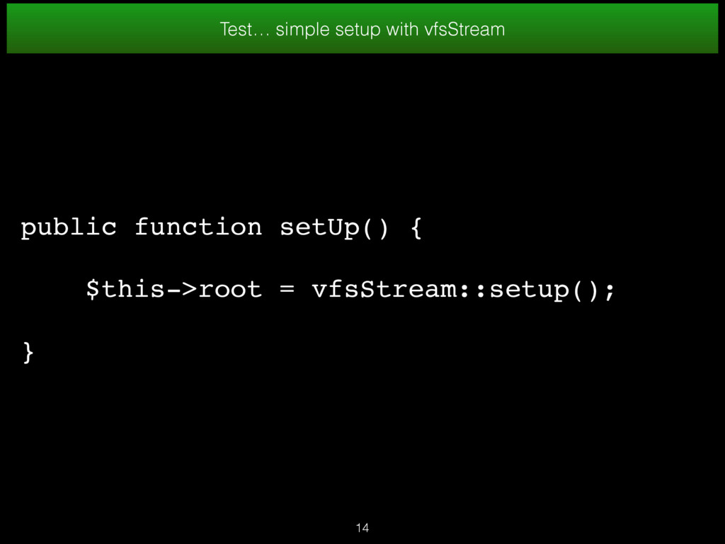 Test… simple setup with vfsStream public functi...