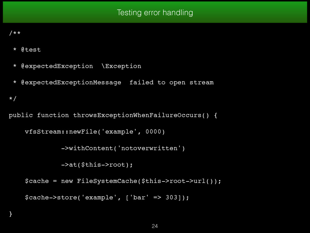 Testing error handling /** * @test * @expectedE...