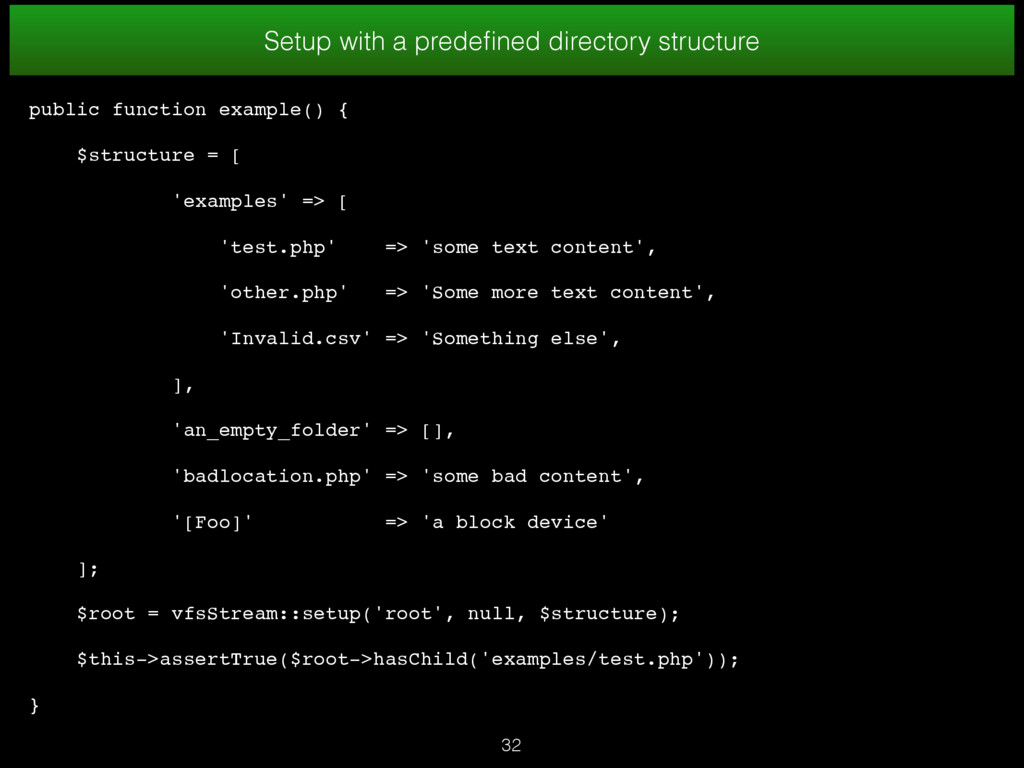 32 Setup with a predefined directory structure p...