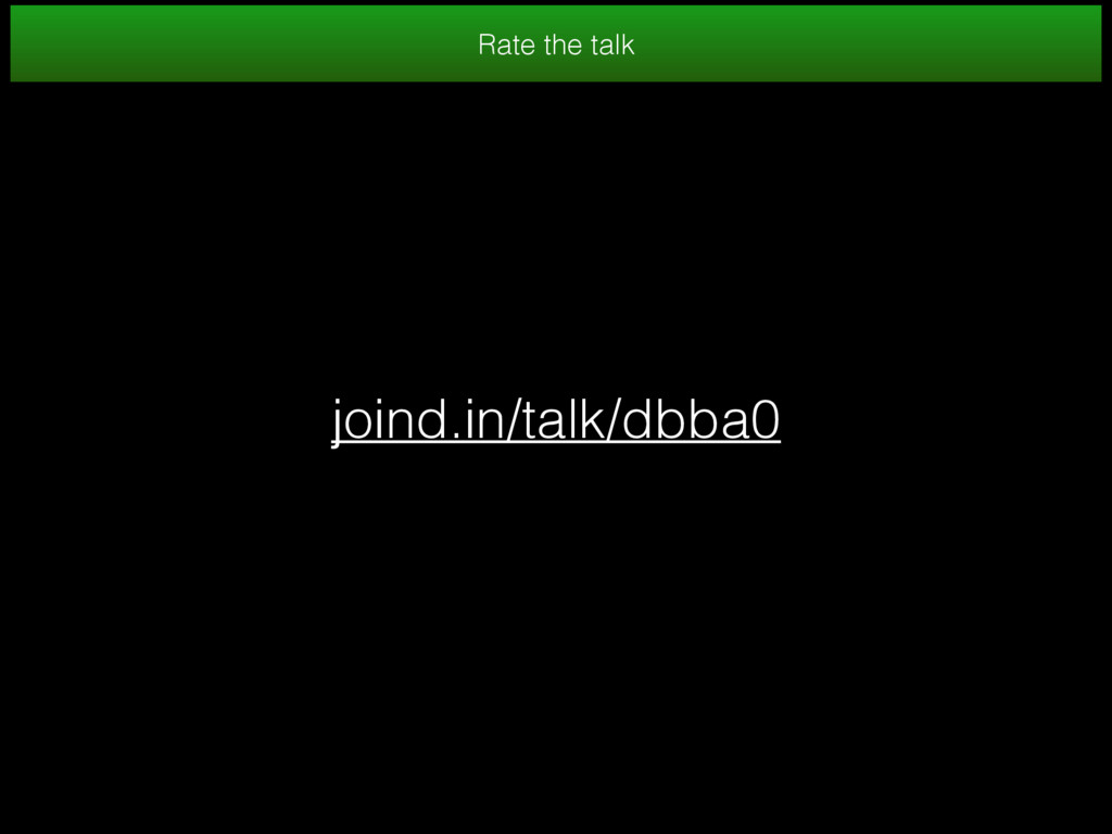 joind.in/talk/dbba0 Rate the talk