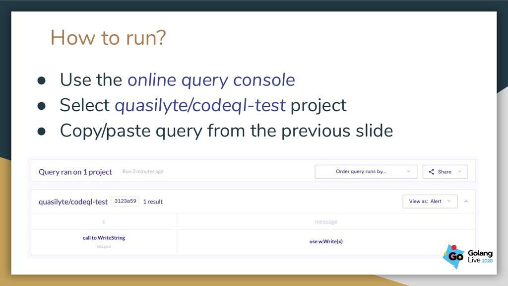 How to run? ● Use the online query console ● Se...