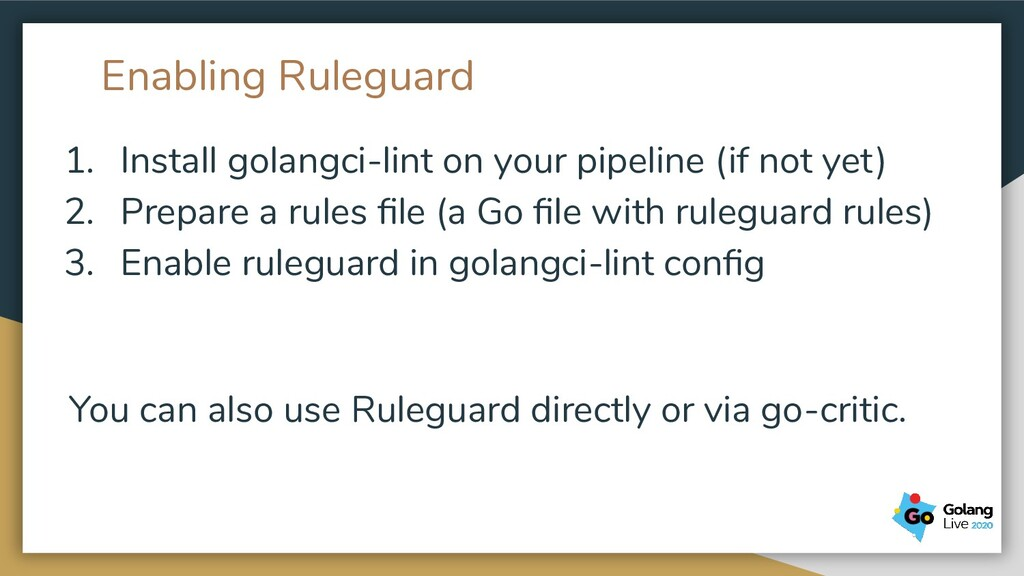 Enabling Ruleguard 1. Install golangci-lint on ...