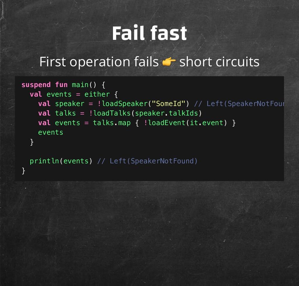 Fail fast First operation fails  short circuits...