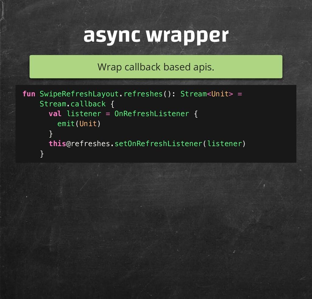 async wrapper Wrap callback based apis. fun Swi...
