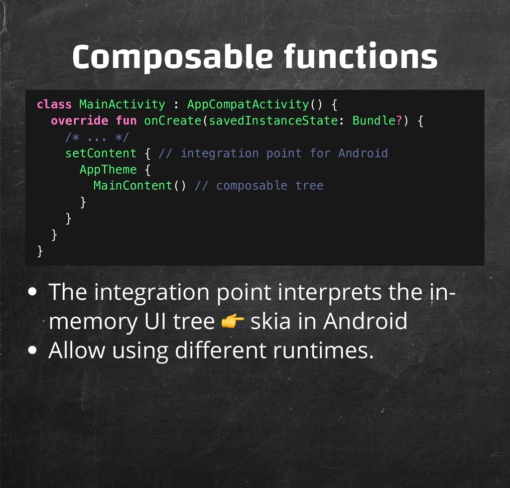Composable functions The integration point inte...