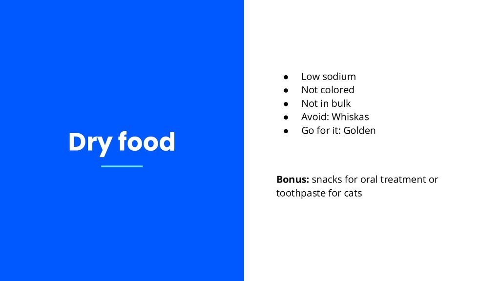● Low sodium ● Not colored ● Not in bulk ● Avoi...