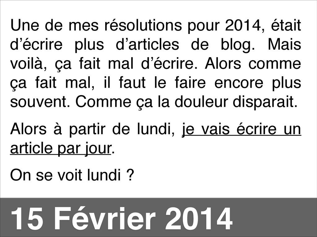 Une de mes résolutions pour 2014, était d'écrir...