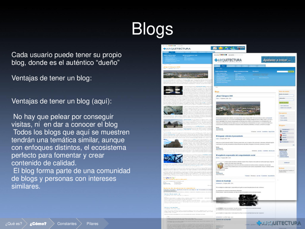 Blogs Cada usuario puede tener su propio blog, ...