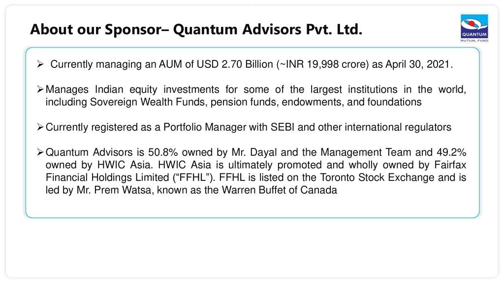 6  Currently managing an AUM of USD 2.70 Billi...