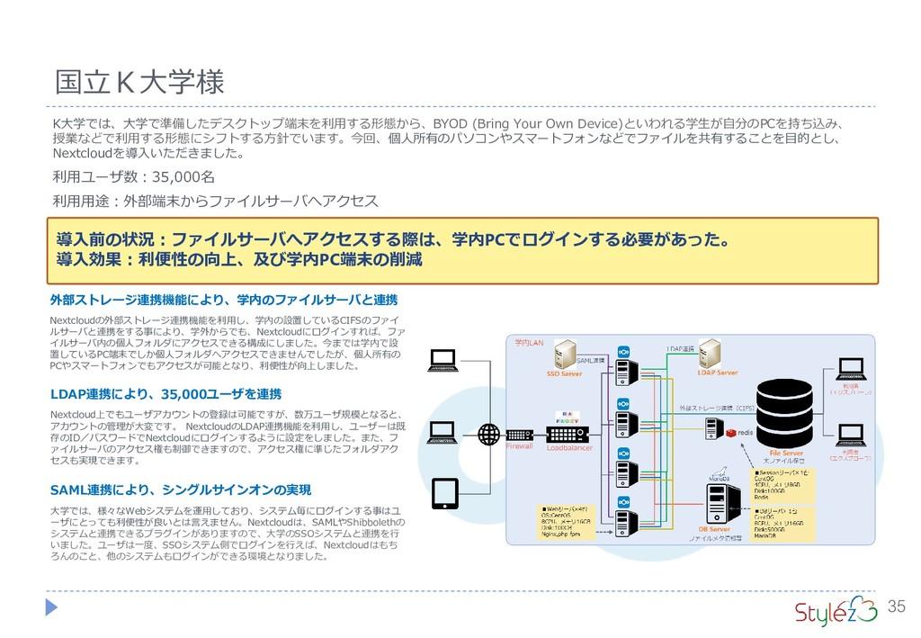 35 国立K大学様 K大学では、大学で準備したデスクトップ端末を利用する形態から、BYOD (...