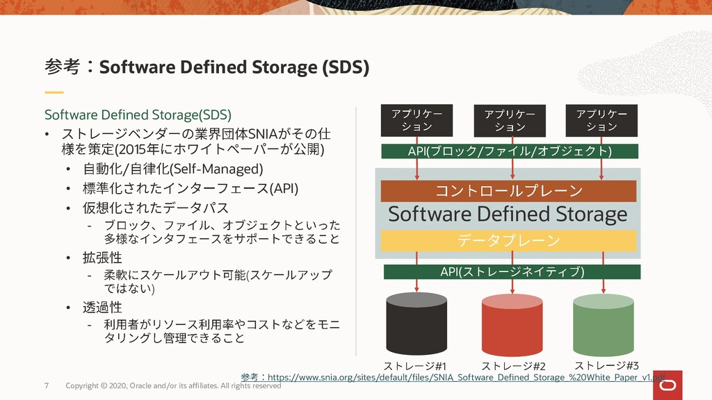 Software Defined Storage 7 Copyright © 2020, Or...