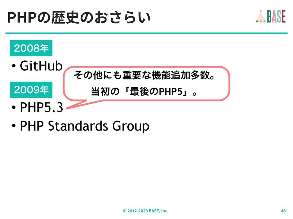 PHPの歴史のおさらい © - BASE, Inc. • PHP5.3 • PHP Stand...