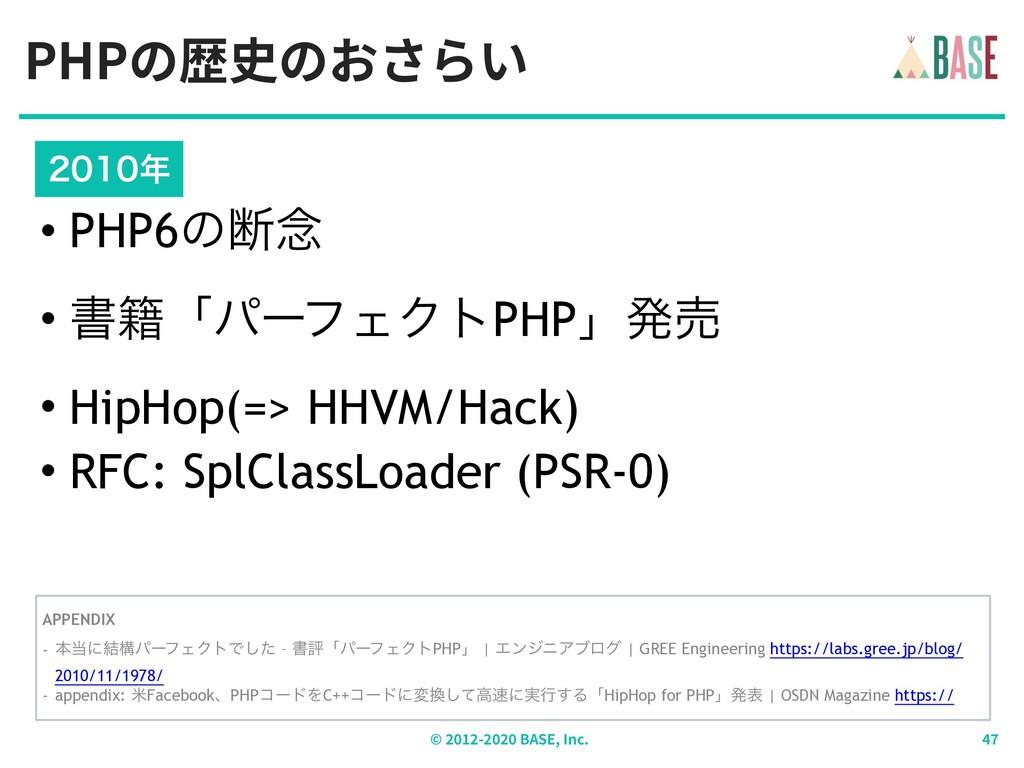 PHPの歴史のおさらい © - BASE, Inc.  • PHP6ͷஅ೦ • ॻ੶...